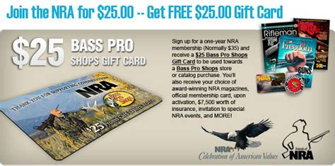 Nra Bass Pro Gift Card - join the nra for 25 00 and get 25 00 bass pro shops gift card 171 daily bulletin