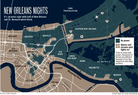 map of new orleans damage map of levee breaks new orleans