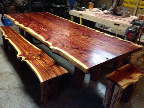 table cedar table  edge table cedar dining set