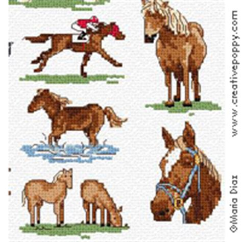 maria diaz horses mini motifs cross stitch pattern chart