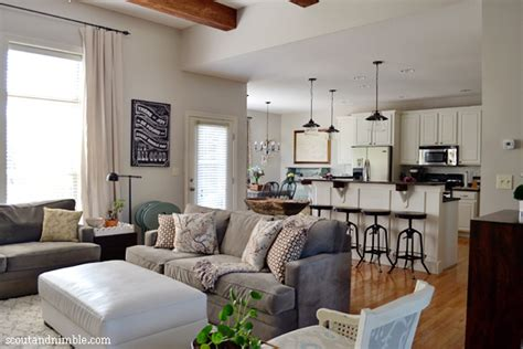 kitchen family room combo eclectic house tour colorful decor