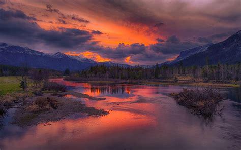 nature landscape sunrise river mountain clouds snowy