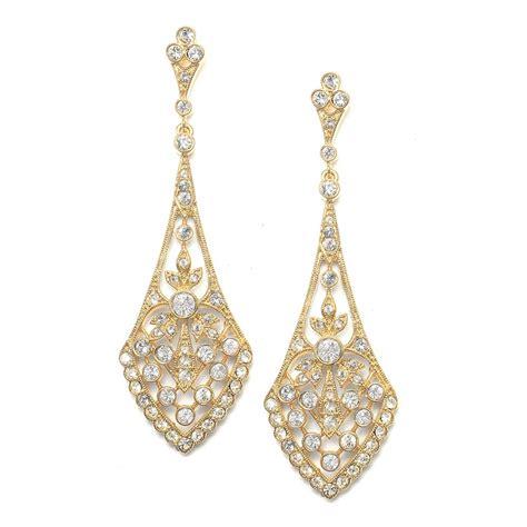 Wedding Earrings by Dramatic Wholesale Bridal Earrings In Vintage Cz Gold