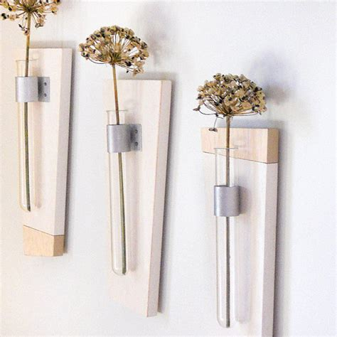 Wall Mounted Flower Vases by Wall Mount Flower Vase Set Of 3 Simple Modern Geometric