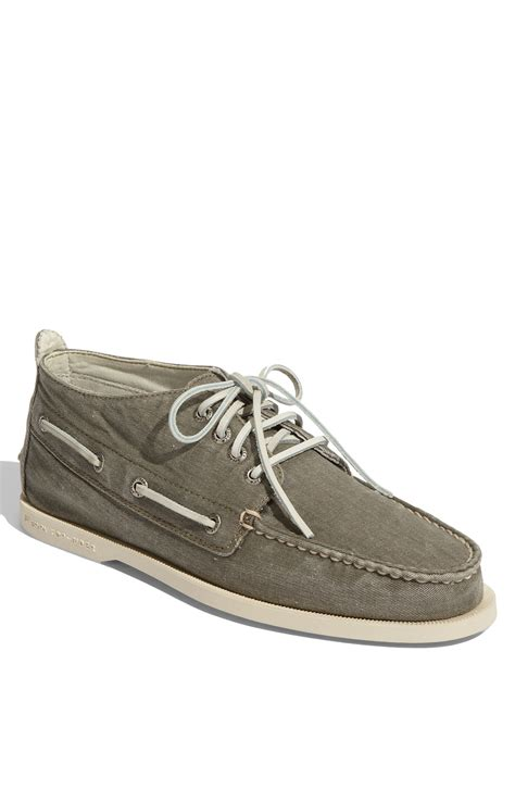 sperry top sider chukka canvas boat shoe in green for