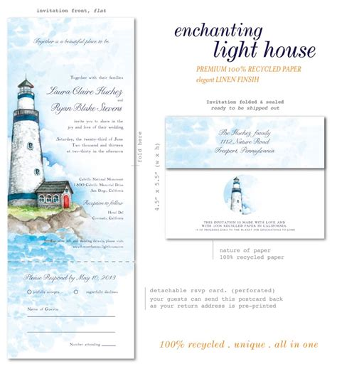 lighthouse wedding invitations lighthouse wedding invitations on 100 recycled paper