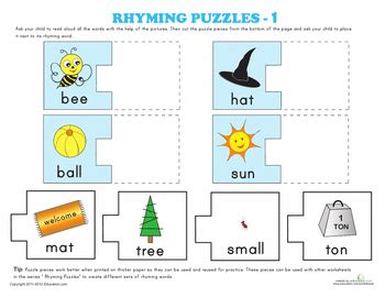 printable rhyming puzzles rhyming puzzles kindergarten phonics worksheets