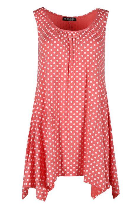 swing kleid gepunktet damen gepunktet bedruckt r 252 schen top 196 rmellos ausgestellt