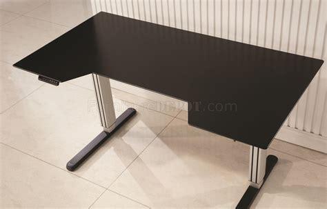 801315 Office Desk In Black Silver Tone W Adjustable Height Adjustable Height Office Desk