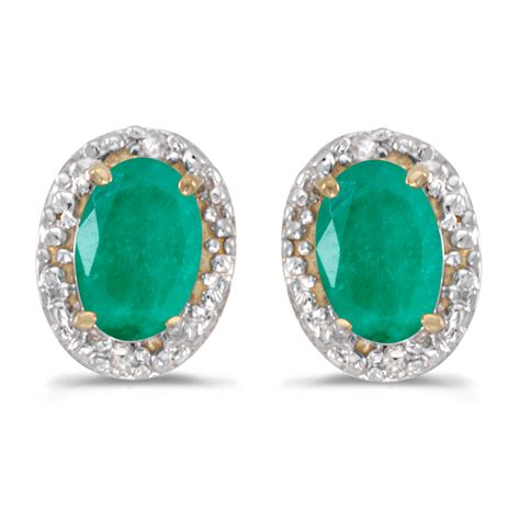 direct jewelry 14k yellow gold oval emerald and