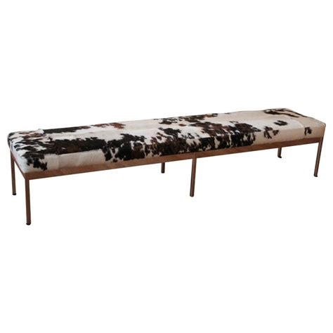 cowhide bench chrome and cowhide covered bench at 1stdibs