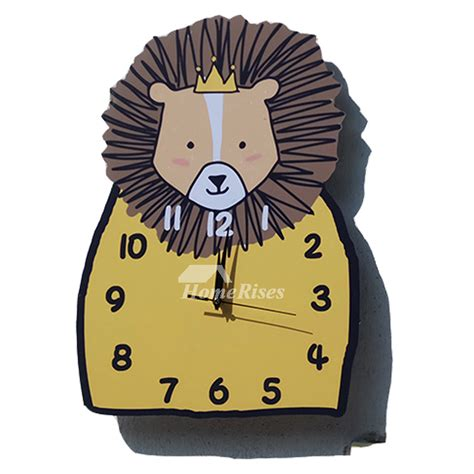 funny yellow wall clock wooden kids decorative unique designer