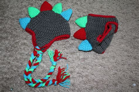 crochet patterns galore baby dino hat  nappydiaper cover