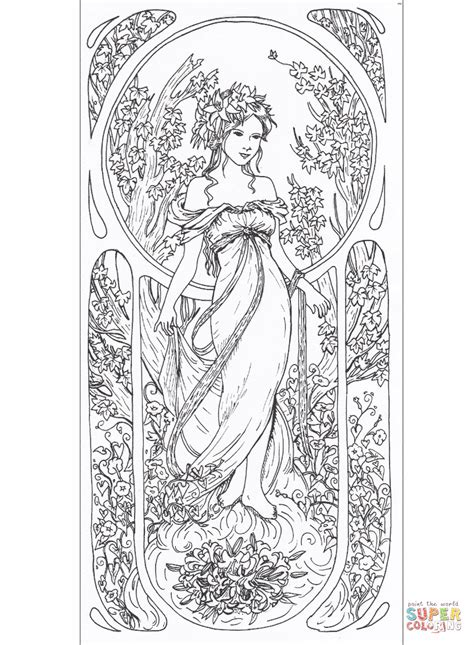 tribute to alfons mucha coloring page free printable