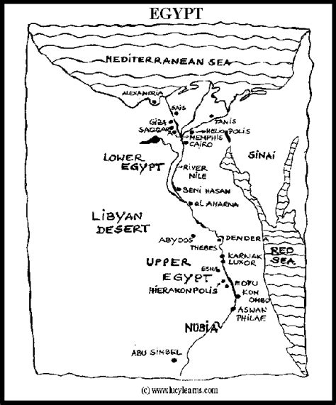 coloring page of egypt map map of egypt school pinterest social studies school