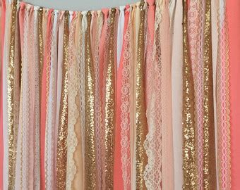 Pink And Gold Curtains Pink Gold Sparkle Sequin Garland Curtain With Lace Nursery