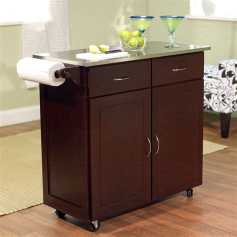 kitchen island with stainless top brayden studio dayville large kitchen cart with stainless
