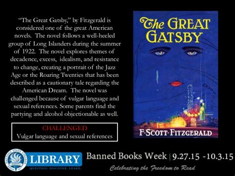 themes of violence in the great gatsby 2015 banned books week