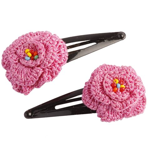 Hairclip Pink 1 crochet pink hair clip shopping