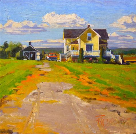 painting of houses in plein air quot yellow house quot laconner oil landscape