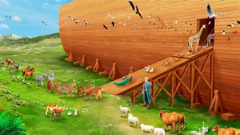 The Earth Is Full Of Violence The Church Of Almighty God Noah S Ark While Animals Are Going To The Ark Drawing With Color