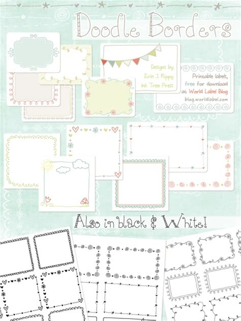Printable Doodle Borders Labels By Inktreepress World