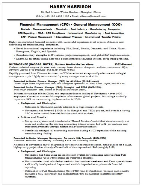 Cfo Resumes Sles by Cfo Resume Template 28 Images Sle Cfo Resume Free