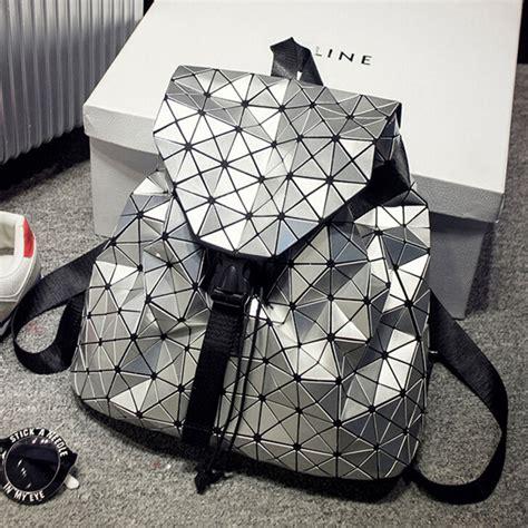 Baobao Hologram 2016 baobao backpack silver geometric pattern laser