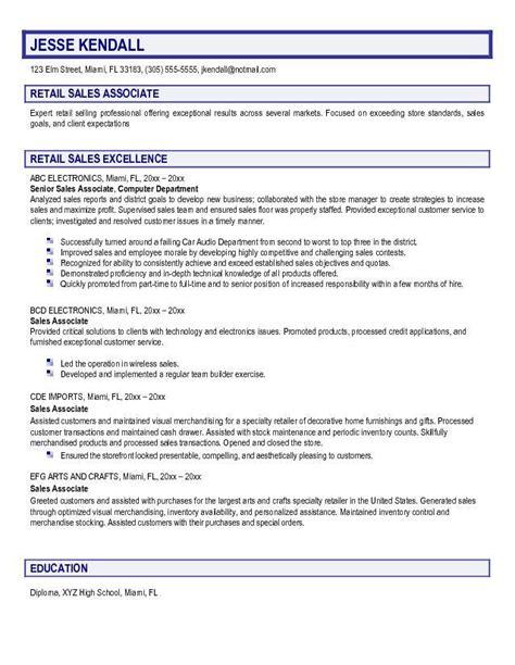 retail sales resume example