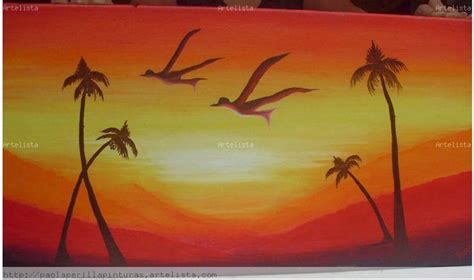 imagenes para dibujar en lienzo faciles amanecer o atardecer paola perilla artelista com