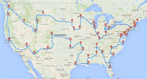 road trip map of united states of america these maps show optimal road trips across every state in