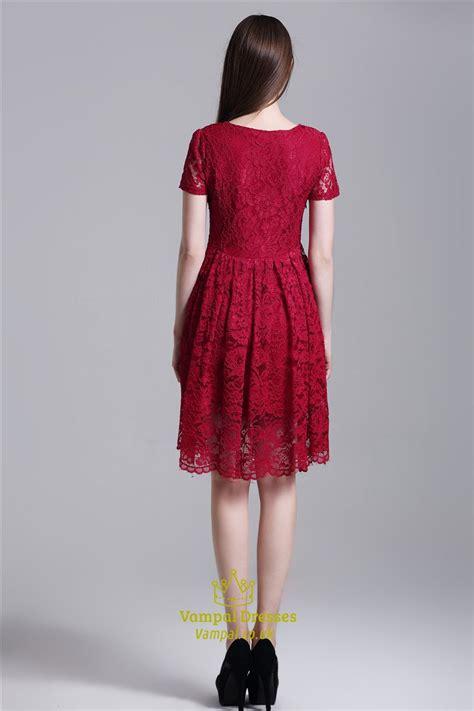 burgundy simple short sleeve   knee length lace