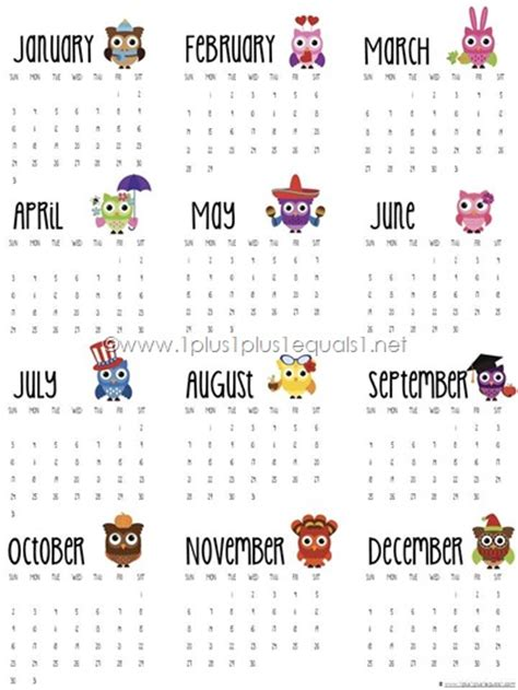 printable calendar 2016 year at a glance 2016 printable owl calendars 1 1 1 1