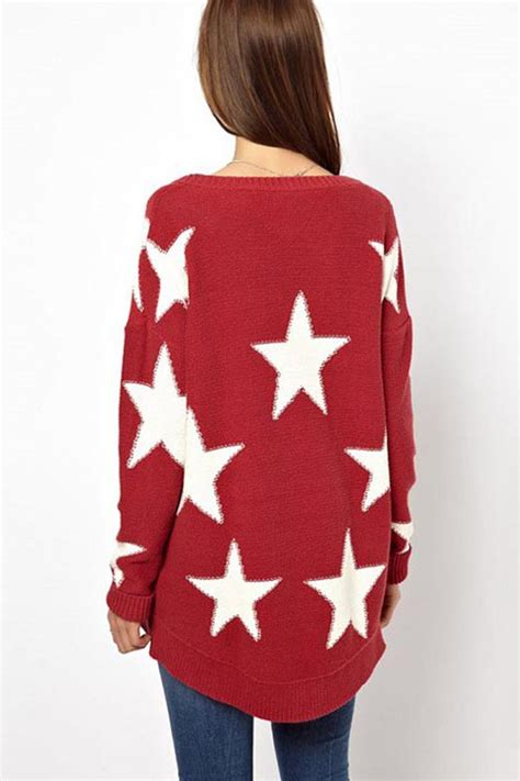 red white  pointed star pullover sweater  sweaters
