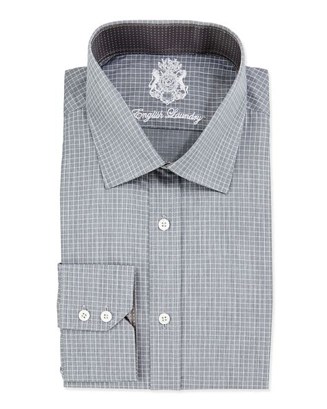 grid pattern outfit english laundry small grid pattern dress shirt in gray for