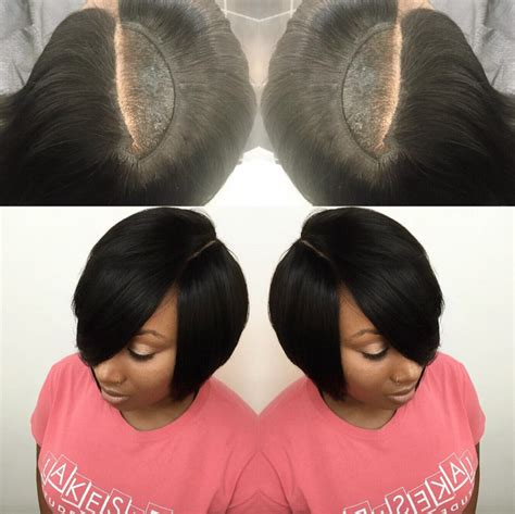 weave hair on a stocking cap nice invisible part quick weave via hairbylatise read the