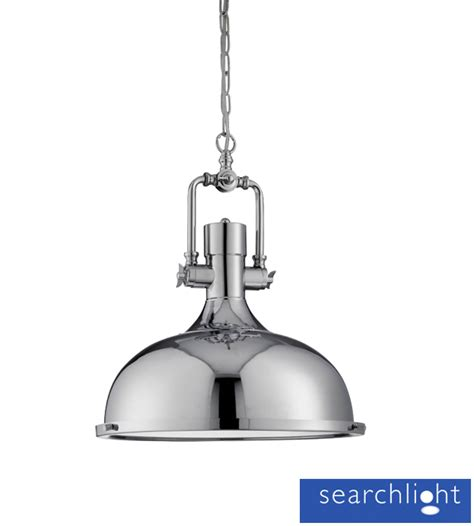 Industrial Pendant Lighting Uk Searchlight Industrial Ceiling Pendant Light Chrome With Frosted Diffuser 1322cc From Easy