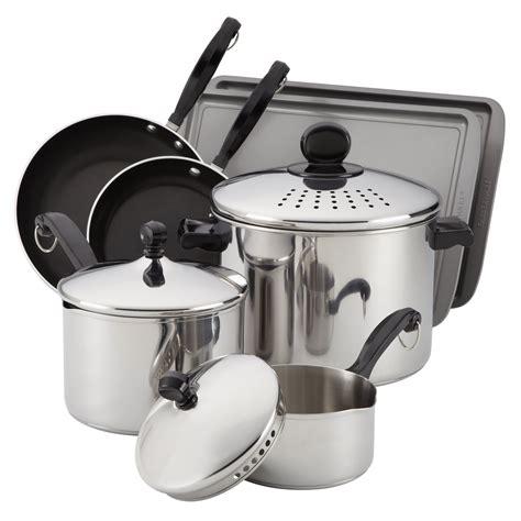 farberware classic  pc cook  strain cookware set