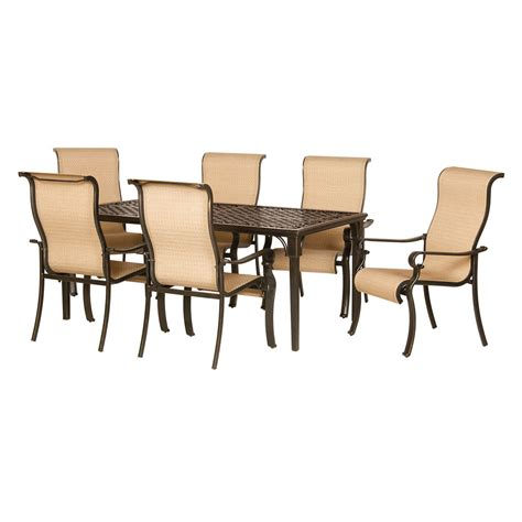 aluminum outdoor furniture sets shop hanover outdoor furniture brigantine 7 espresso bean aluminum patio dining set at