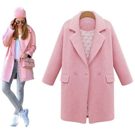 pink pattern coat jacket coat 2017 fashion cocoon pattern pink women wool