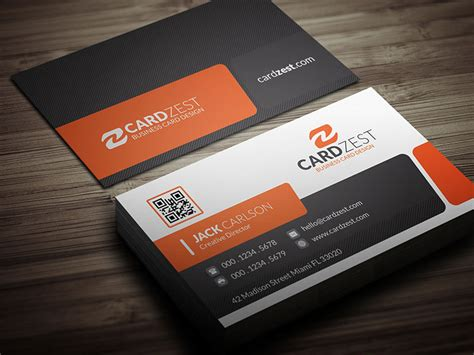 business card set template stylish orange corporate business card template 187 cardzest