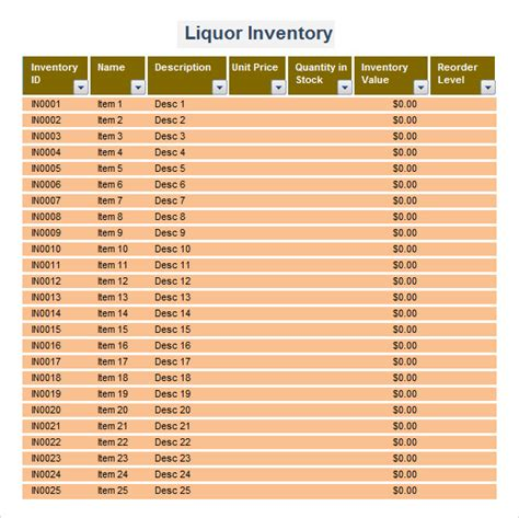 Liquor Inventory Template   7 Download Free Documents in