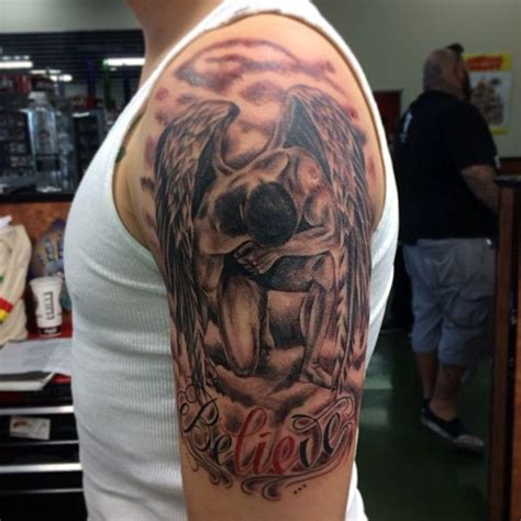 angel tattoo half sleeve designs awesome half sleeve angel tattoo for men tattoo ideas