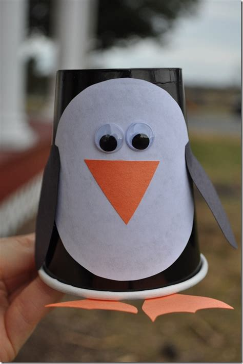 Penguin Paper Craft - paper cup penguin craft