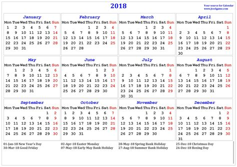 Calendar 2018 Deals Holidays In 2018 The Best 2017