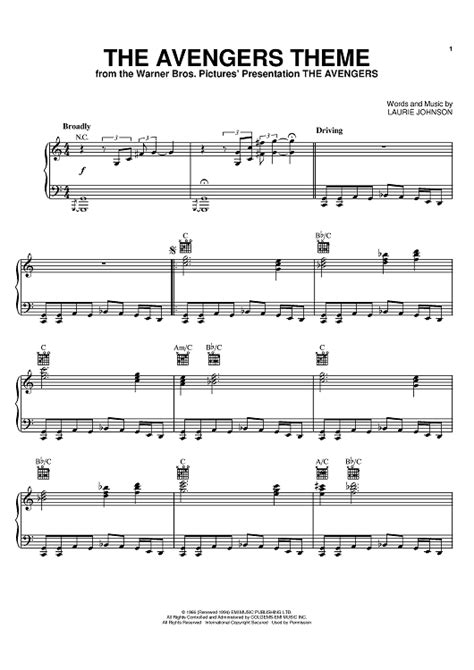 Theme Song Avengers | the avengers theme sheet music by laurie johnson sheet