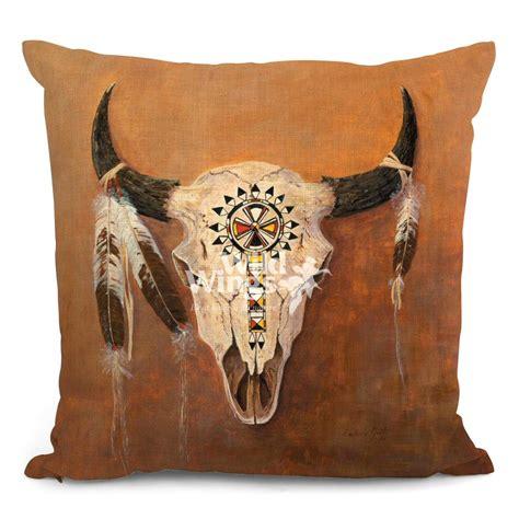 Decorative Pillows Set Of 4 18 Quot Big Medicine Buffalo Skull Decorative Square Throw