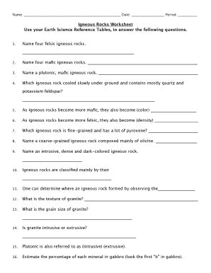 igneous rocks worksheet answers igneous rocks worksheet use the earth science reference table to answer the following questions