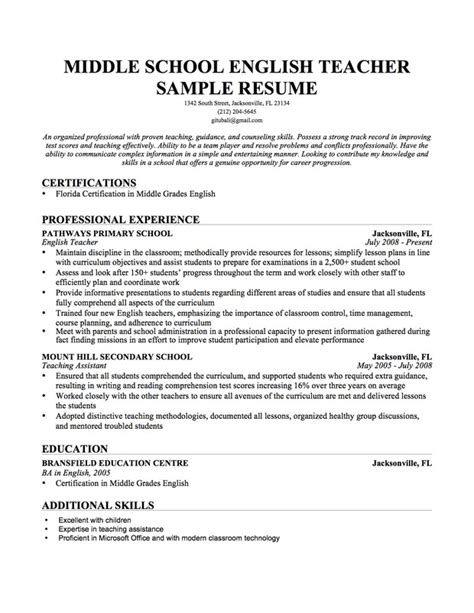 Sle Resume For Middle School Primary School Teachers Resume Sales Lewesmr