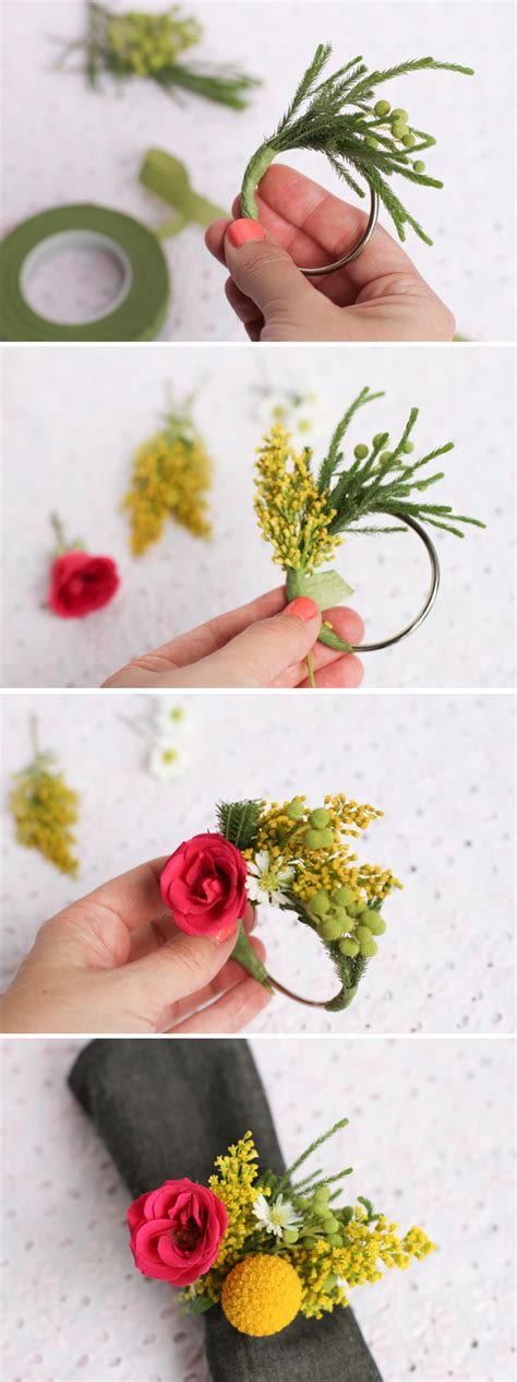 Make This: Fresh Flower Napkin Ring // Dinner Party DIY   Paper and Stitch
